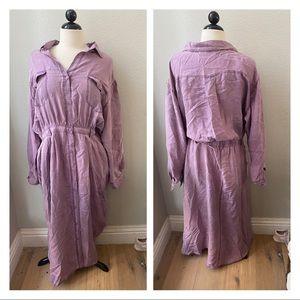 STYLEWORKS silk vintage purple flowy maxi dress 18